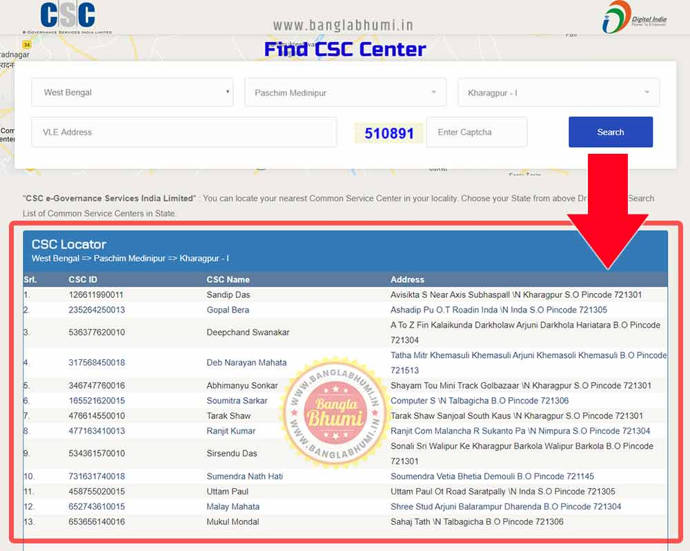Search West Bengal Common Service Centres