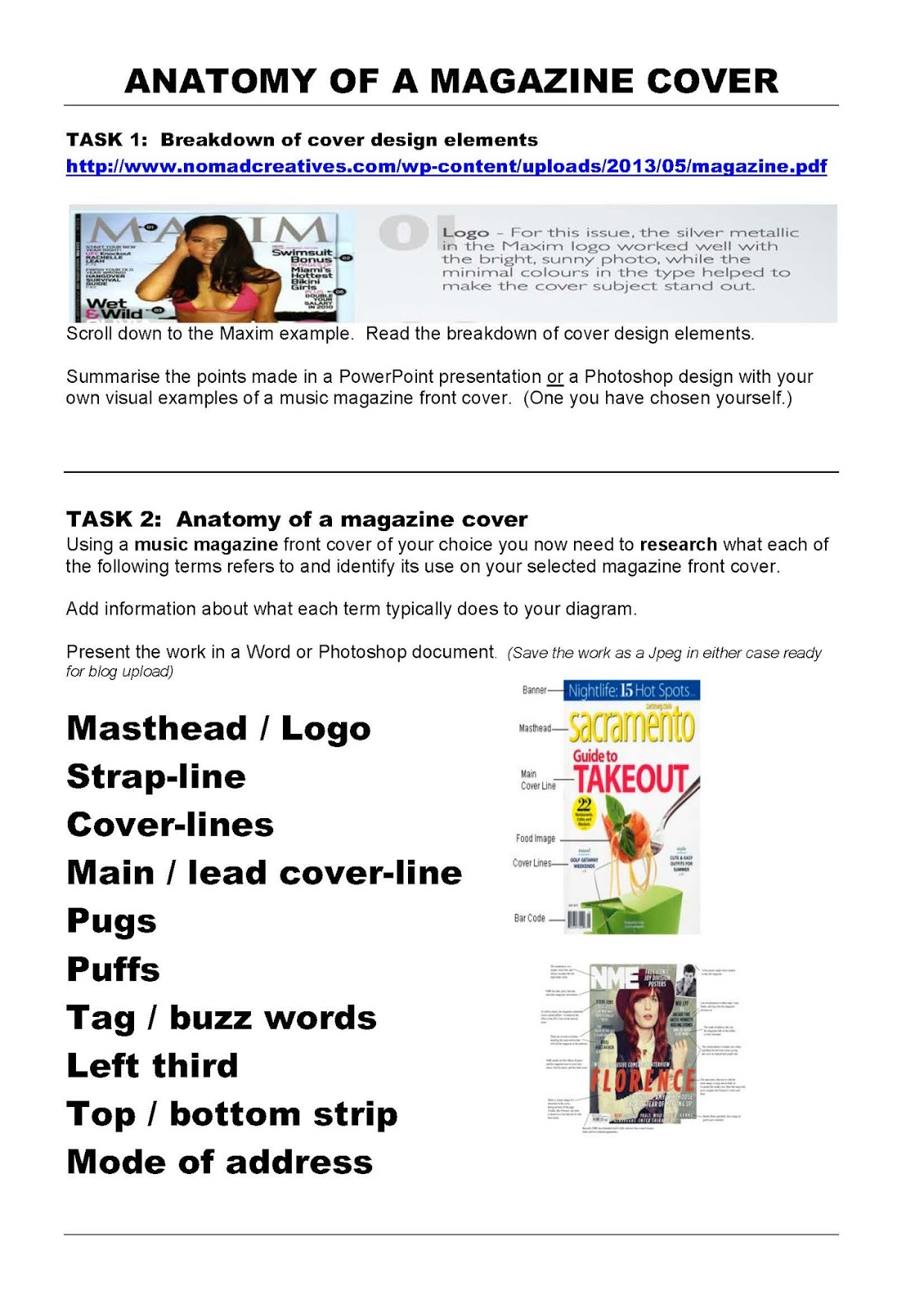 As Media Front Cover Worksheet