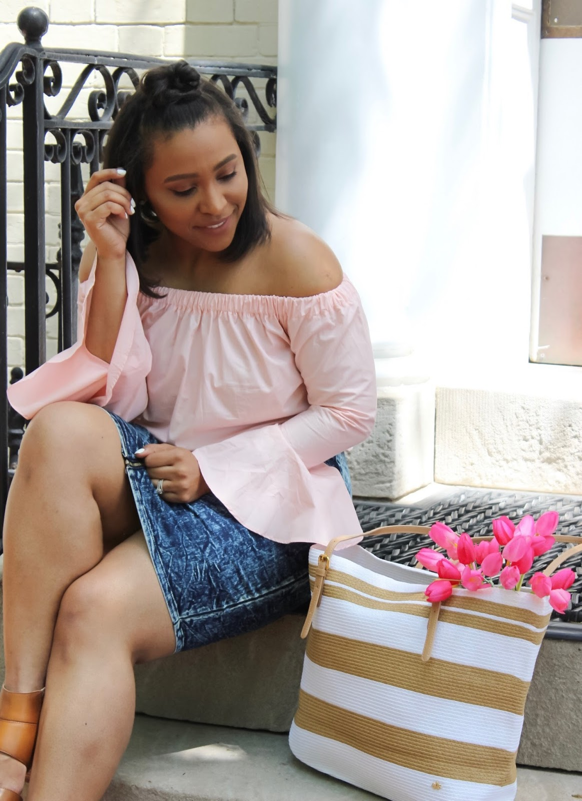 A Mother's Day Gift Guide With Cappelli Straworld, mother's day gift ideas, flowers, handbags, pink outfits, ruffle sleeves, off the shoulder trend off the shoulder tops