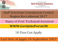 Staff Selection Commission Central Region Recruitment 2017– Junior Conservation Assistant, Technical Assistant
