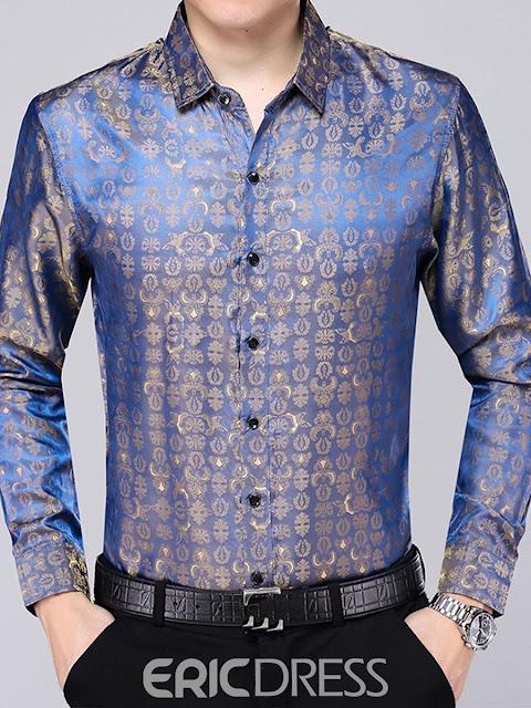 Lapel Long Sleeve Fit Men's Paisley Shirt