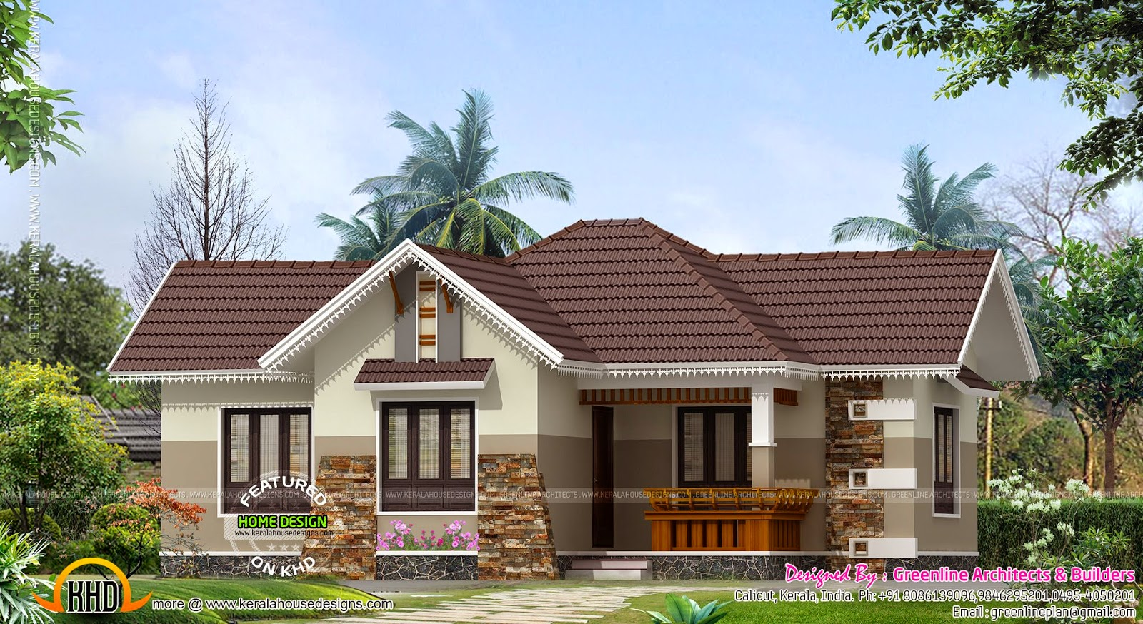 Nice small house exterior - Kerala home design and floor plans