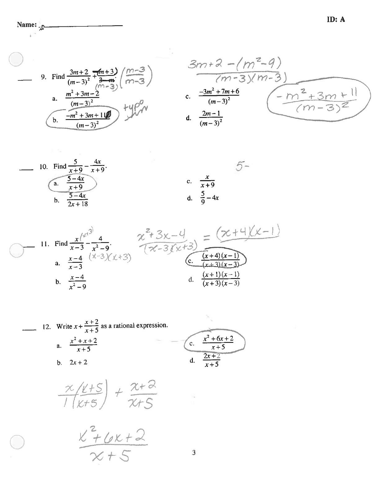 Math Classes Spring Intermediate Algebra