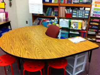 I use flexible seating stools at the guided reading table.