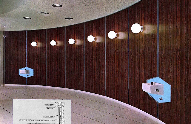 A formica wall: terrible acoustics, with the smell of formaldehyde