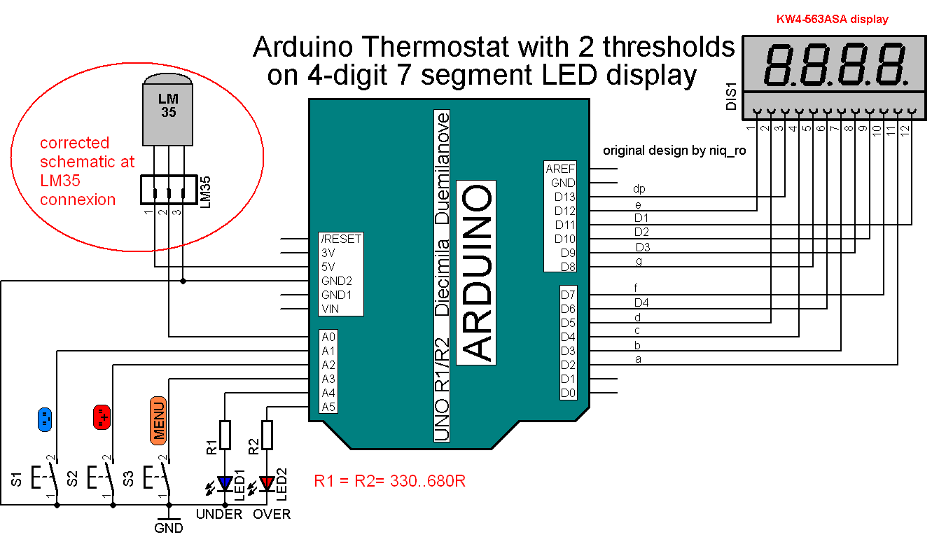 Arduino tehniq thermostat on segment led display
