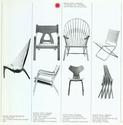 Den Permanente catalog 1972, chairs by Hans Wegner, Arne Jacobsen, Jorgen Hovelskov