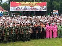 Yonif Raider 514 Kostrad Apel Bersama Nusantara Bersatu di Alun-  alun Bondowoso.