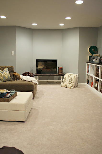 blue gray walls in basement