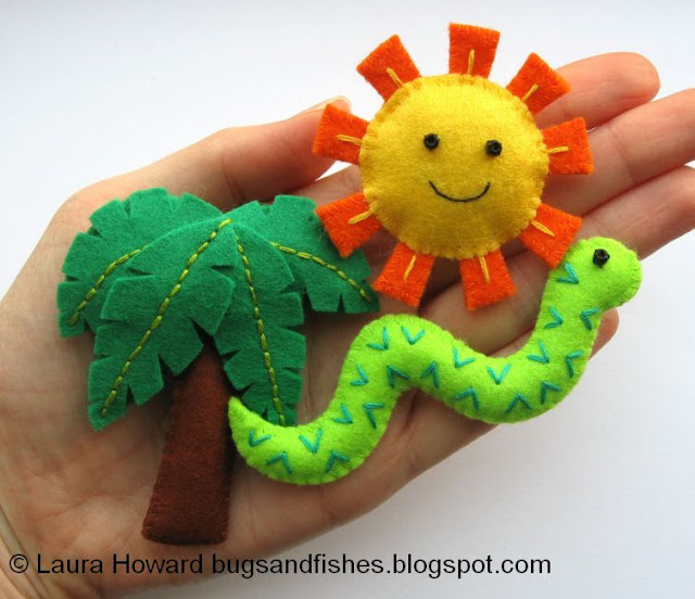mini felt palm tree snake sunshine tutorial