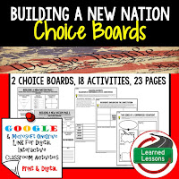 Civics and Government Digital Learning Choice Boards, Google Lessons, Building a New Nation