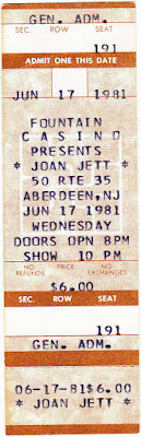 Joan Jett at The Fountain Casino ticket stub