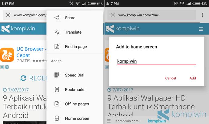 opera pin situs web sebagai shortcut layar home