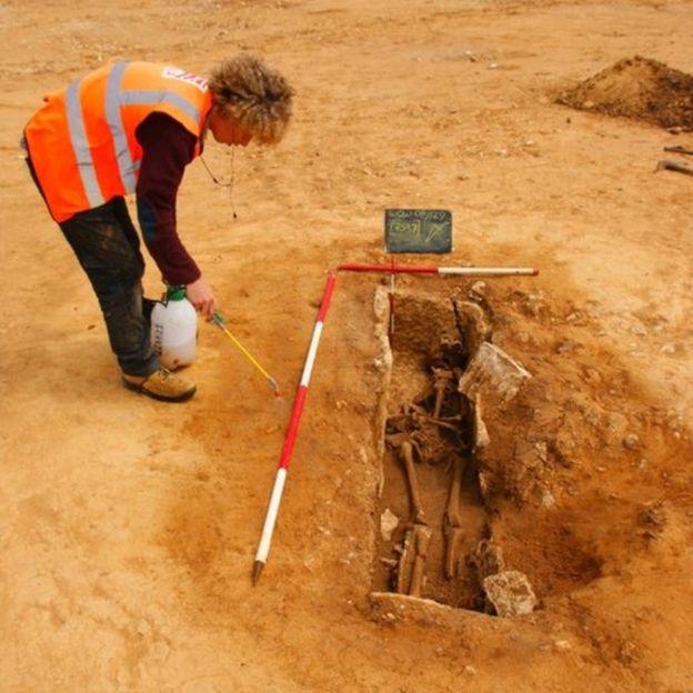 Roman skeleton with 'bent feet' found at Dorset quarry