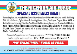 How to Apply for Nigerian Airforce DSSC Recruitment Form – 2017