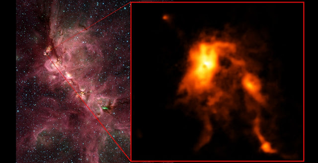 Inside the Cats's Paw Nebula, as seen in an infrared image from NASA's Spitzer Space Telescope (left), ALMA discovered that an infant star is undergoing an intense growth spurt, shining nearly 100 brighter than before and reshaping its stellar nursery (right). Credit: ALMA (ESO/NAOJ/NRAO), T. Hunter; C. Brogan, B. Saxton (NRAO/AUI/NSF); GLIMPSE, NASA/JPL-Caltech