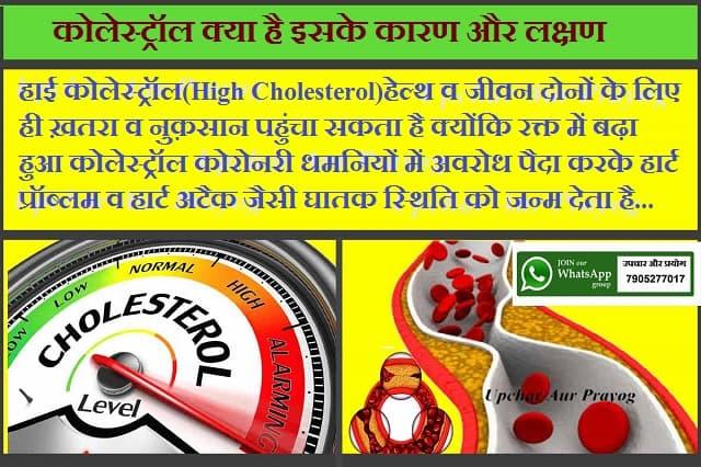 कोलेस्ट्रॉल क्या है इसके कारण और लक्षण-Causes and Symptoms of Cholesterol