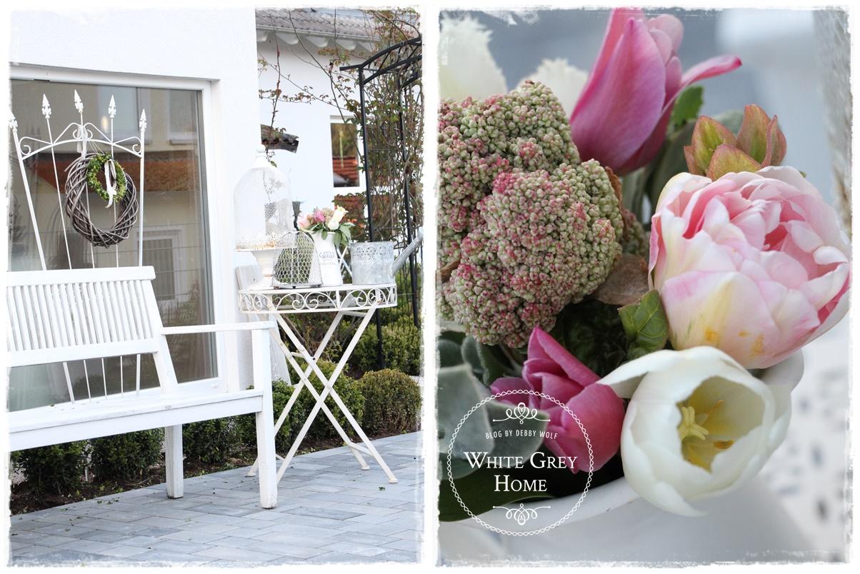 white grey home fr hling im garten. Black Bedroom Furniture Sets. Home Design Ideas