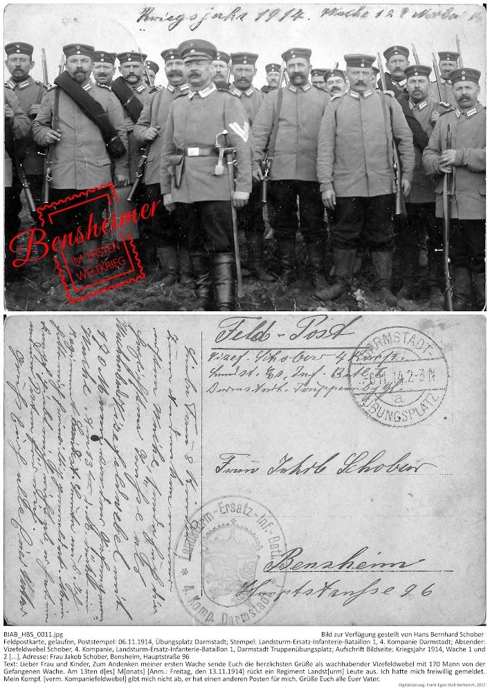 Vizefeldwebel Schober grüßt seine Familie (1914) - Bild zur Verfügung gestellt von Hans Bernhard Schober, Aufbereitung: Frank-Egon Stoll-Berberich 2017