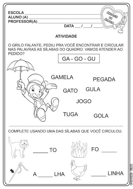 Atividade Projeto Animais de Jardim- Sílabas GA-GO e GU