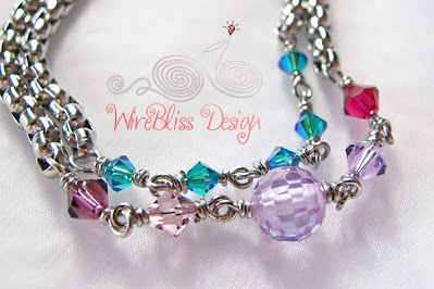 Wire wrapped Minima Bracelet (Minlet) with 4mm Bicone Swarovski Crystals
