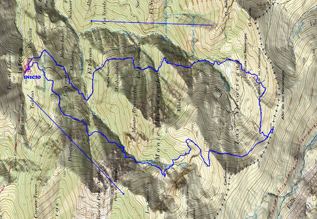 Mapa topográfico ruta