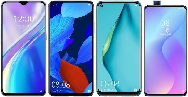 Realme X2 vs Huawei Nova 5T vs Huawei P40 Lite vs Xiaomi Mi 9T