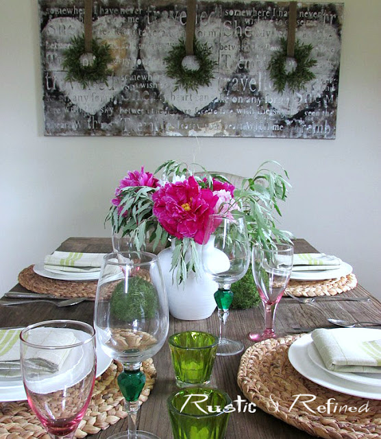 Spring or Summer Tablescape with peonies
