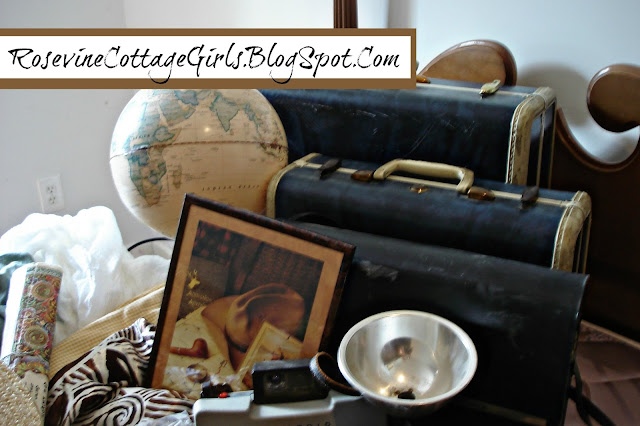 photo of blue vintage suitcases, a globe an old camera, a map, vintage camera bag, fabric swatches | Adventure Room, Adventure Bedroom, Indiana Jones, history room, Artifact room, archaeology by rosevine cottage girls