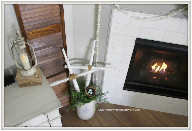 French Country Farmhouse Fireplace-Subway Tile Surround-DIY Crosses-Sherwin Williams Dorian Gray-Vintage Style-Button Garland-From My Front Porch To Yours