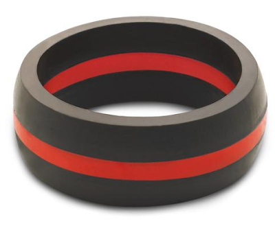QALO Men's Thin Red Line Silicone Ring