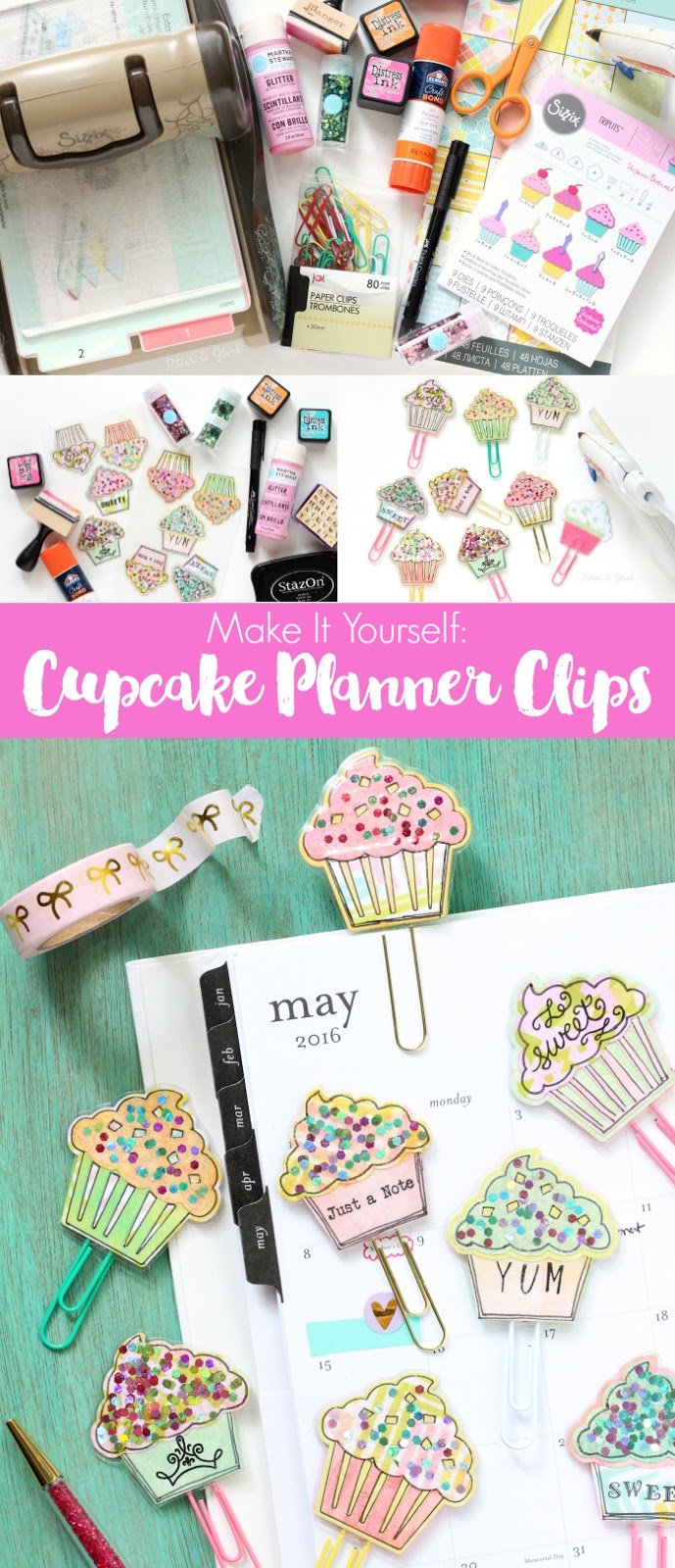 PitterAndGlinkHow to Make Sparkly Cupcake Planner Clips