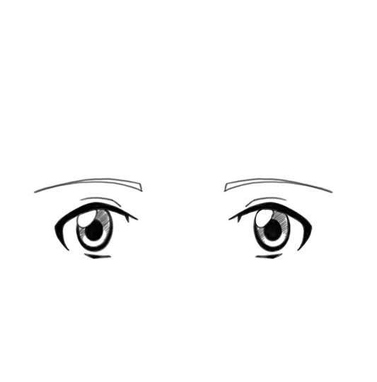 des yeux de face d'un personnage manga