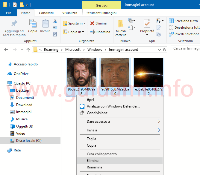 Windows 10 finestra Immagini account utente