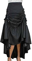 Women's steampunk clothing. Victorian Black Sateen Corset Skirt