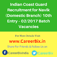 Indian Coast Guard Recruitment for Navik (Domestic Branch) 10th Entry – 02/2017 Batch Vacancies