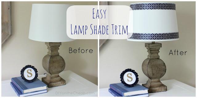 Easy Lamp Shade Trim {No glue gun required!}