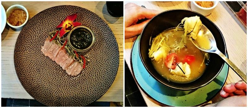 Thai style ceviche z łososia w sosie z kolendry i mięty i Zupa z dorszem z pastą curry z dodatkiem soku z pomarańczy Why Thai Food&Wine