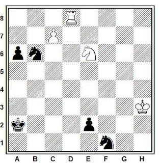 Estudio artístico de ajedrez compuesto por V. A. Korolkov (DSO Spartak, Tbilisi, 1962)