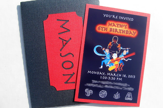 Avatar: The Last Airbender Birthday Party Invitation with envelope
