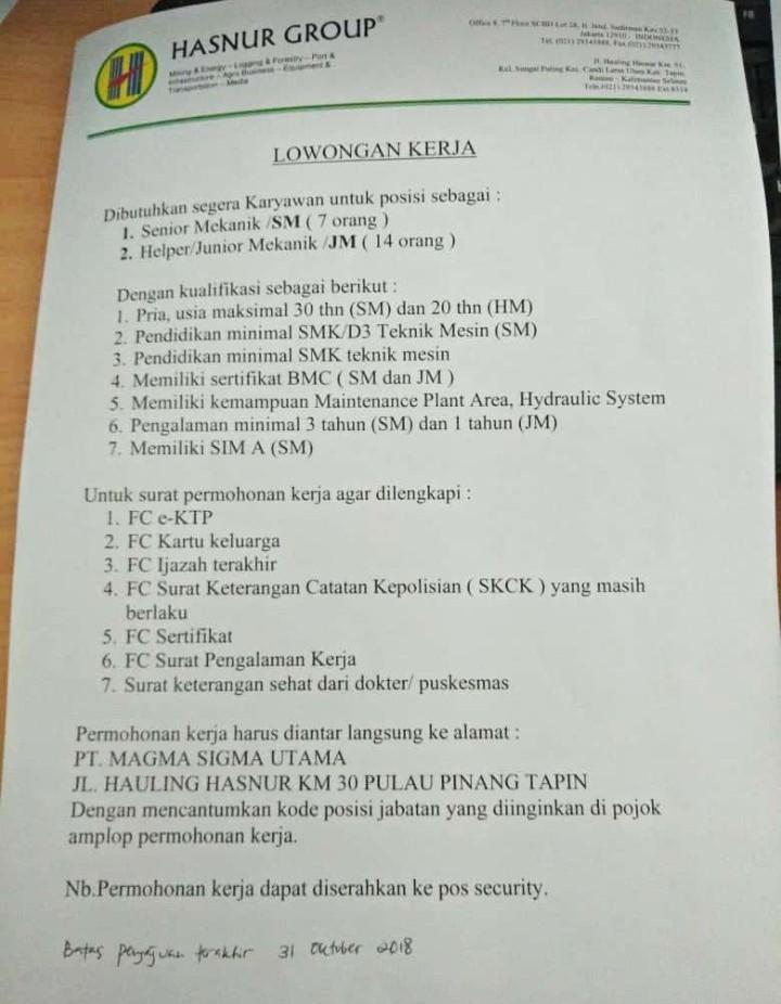Update! Informasi Lowongan Kerja untuk Wilayah Kabupaten Tapin dari PT.Hasnur Group