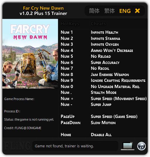 Far Cry New Dawn (PC) Sınırsız Can,Oksijen +15 Trainer Hilesi