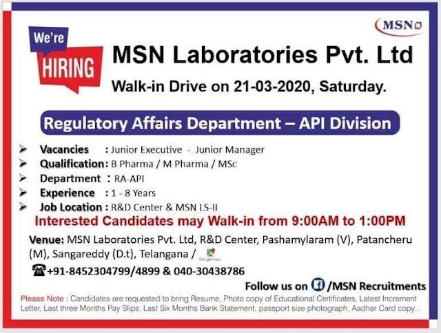 MSN Laboratories Pvt. Ltd. Walk in Drive- Regulatory Affairs API Division On 21st March 2020 @ Hyderabad