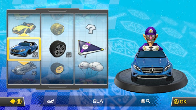 Mario Kart 8 Mercedes GLA car Waluigi downloadable content