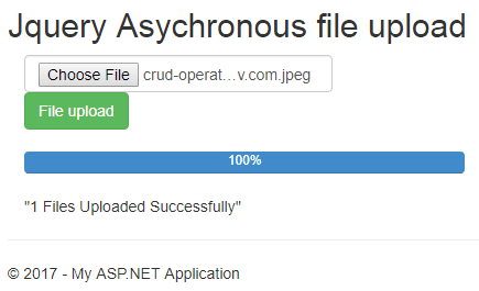 asynchronous file upload using jquery in mvc5