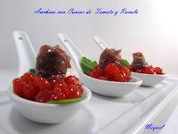 Anchoa con Caviar de Tomate y Rúcula