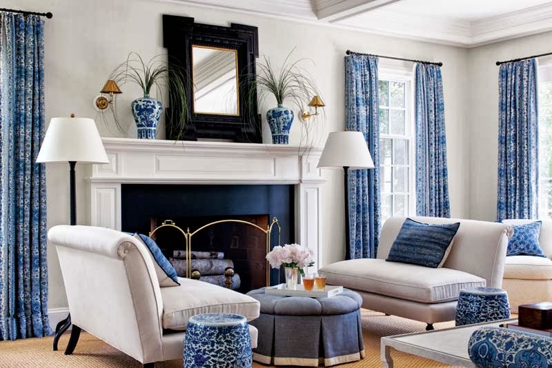 A Blue And White Family Room Is So Gorgeous Timeless When Adjacent To Clic Kitchen Don T You Think