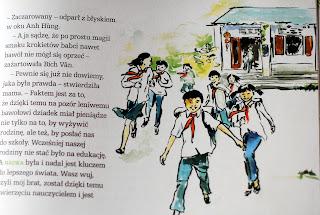 Ilustracja przedstawiająca wietnamską szkołę