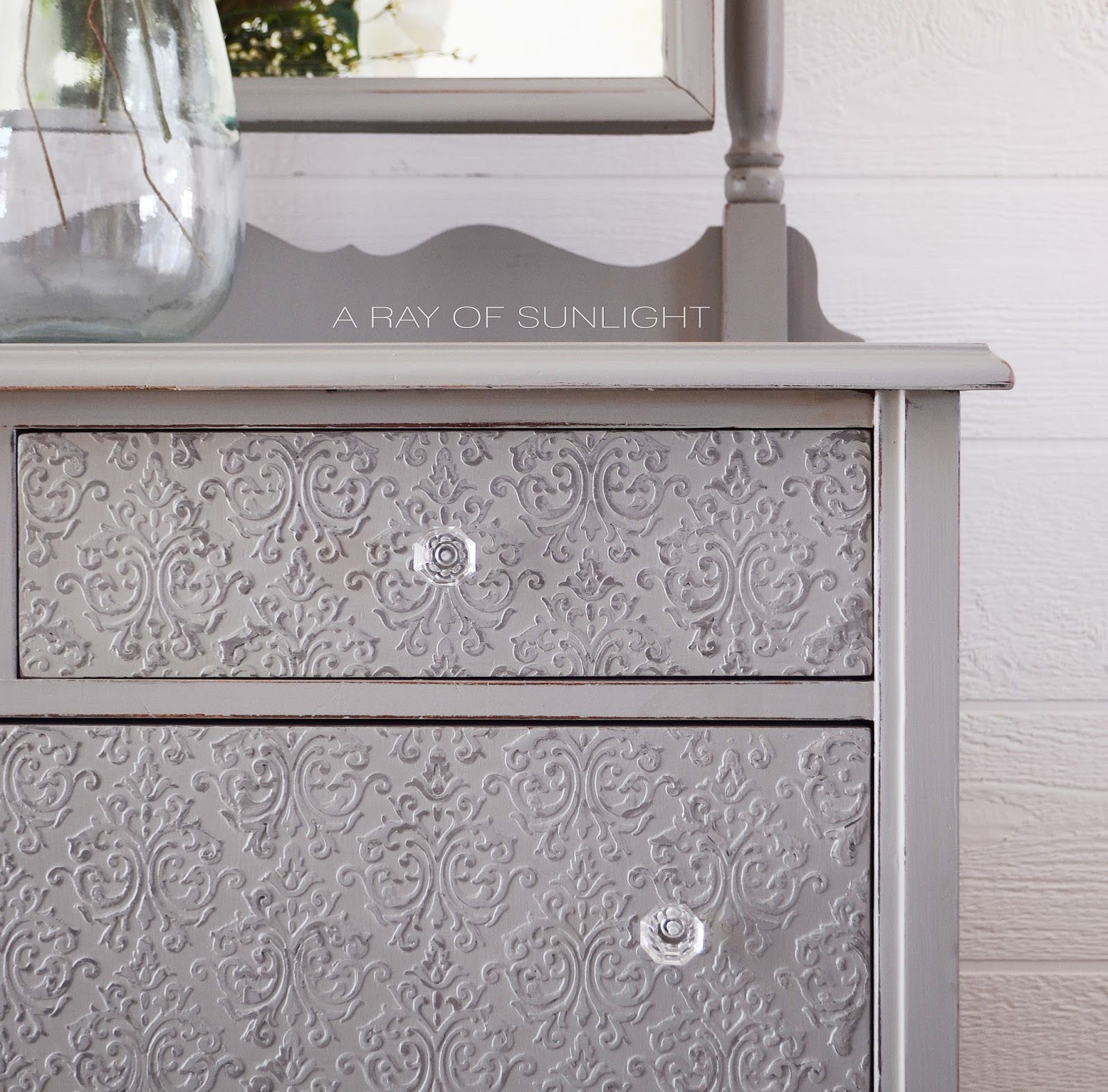 Antique Grey Painted Dresser with Embossed Drawers