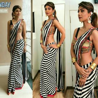 शिल्पा शेट्टी की स्ट्राइप साड़ी, Shilpa Shetty in monochrome saree, Shilpa Shetty saree,